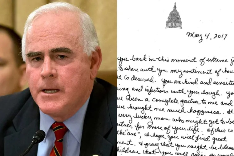 """U.S. Rep. Pat Meehan (R., Pa.) resigned from Congress Friday, months after news reports revealed he had used taxpayer funds to settle a sexual harassment claim. He said he would repay the $39,000 used for the settlement. Meehan said he developed a deep affection for a young woman aide and called her a """"soul mate"""" but did not harass her, in an interview with The Inquirer and Daily News."""