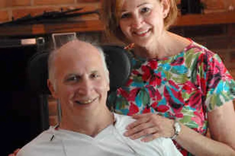 Paul and Jeanne Haynes have struggled since he was left quadriplegic after being slammed by a wave last summer at Ocean City. Her Moorestown High School students plan a benefit concert.
