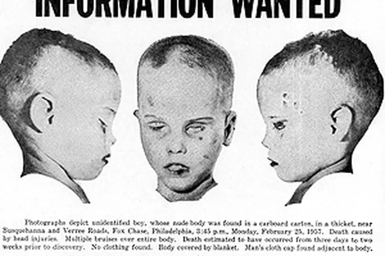 """A flier distributed around Philadelphia seeking to solve the infamous 1957 case commonly called """"The Boy in the Box."""""""