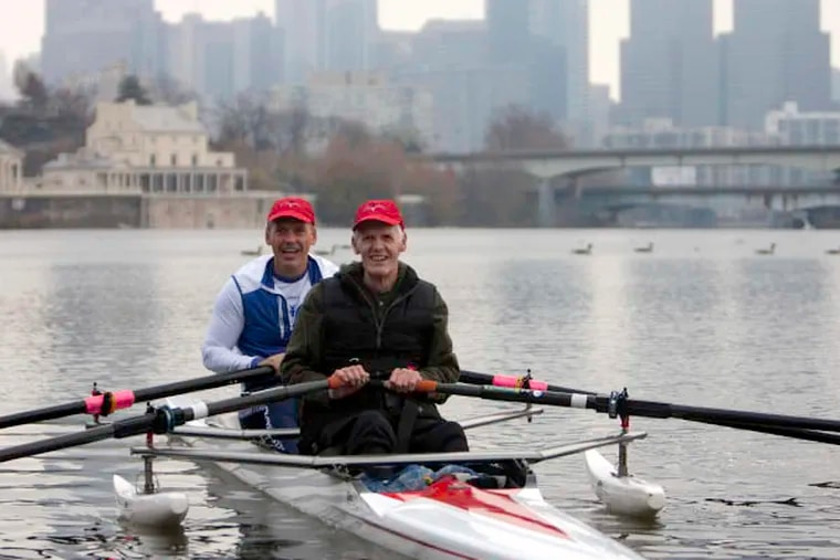 Paralyzed rower Fred Duling and his son Fred Jr. set out for a row on the Schuylkill River from the Malta boathouse. Photo Credit Sandor Ferenczy