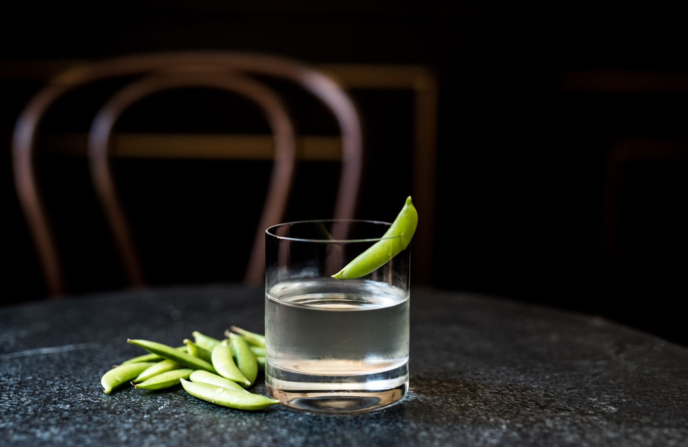 A clean and delicate tequila cocktail, Royal Boucherie's Baby, Peas Don't Go, features a shrub derived from a snap pea and green-peppercorn-infused champagne vinegar.
