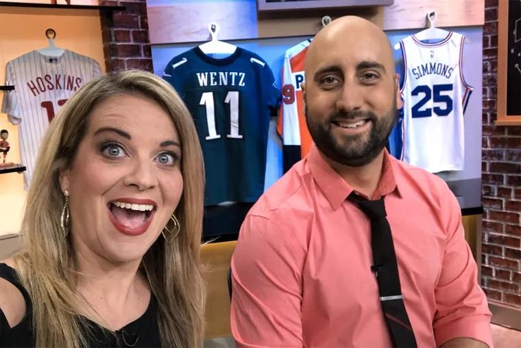 "Amy Fadool Kane and Marc Farzetta on the set of NBC Sports Philadelphia's ""Philly Sports Talk."""