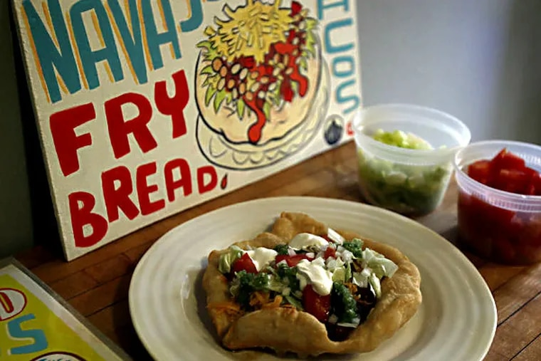 Navajo tacos are made with fry bread, a staple of the diets of American Indians in the Southwest.