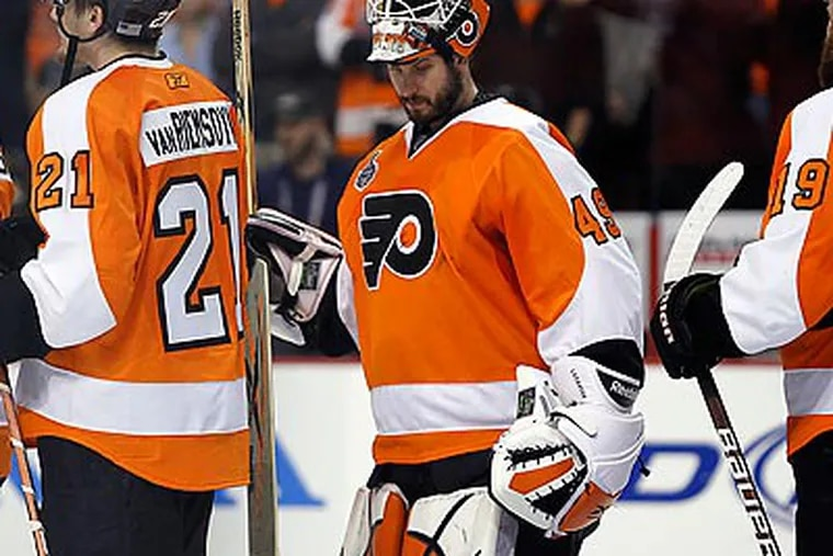 The play of Michael Leighton was one of the biggest reasons why the Flyers made it this far. (Yong Kim/Staff Photographer)