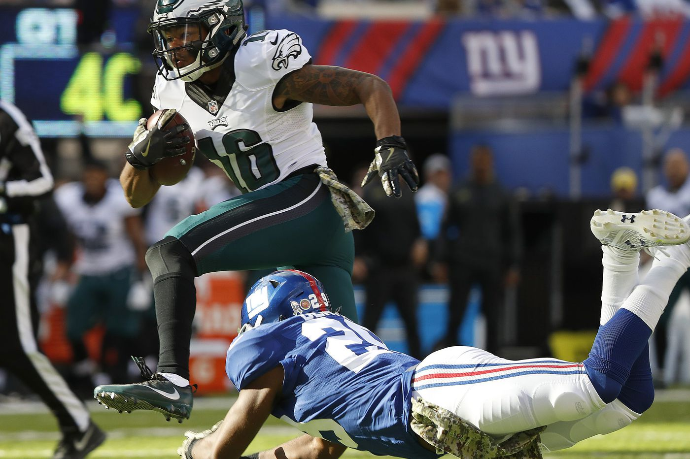 Bryce Treggs takes field for first time in Eagles training camp; Shelton Gibson still sidelined