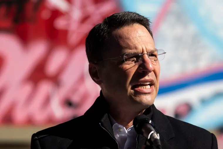 Pennsylvania Attorney General Josh Shapiro in Philadelphia, Pa. on Monday, March 15, 2021. His office sued an Upper Darby supplier of cemetery markers that's accused of failing to produce headstones on time, if ever.