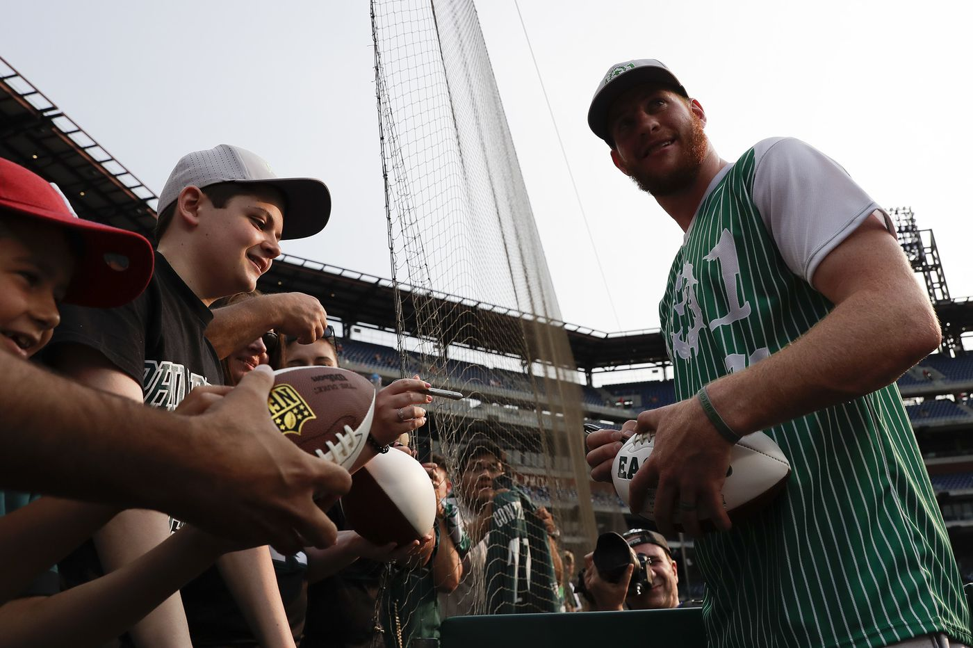 Carson Wentz hosts second charity softball game for Eagles teammates at Citizens Bank Park