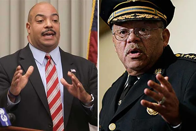 District Attorney Seth Williams (left) informed Police Commissioner Charles Ramsey (right) by letter Monday that his office would no longer use five officers as witnesses, accept charges, or approve search warrants in narcotics cases in which they were involved. (File Photos: Michael Bryant and David Maialetti / Staff Photographers)