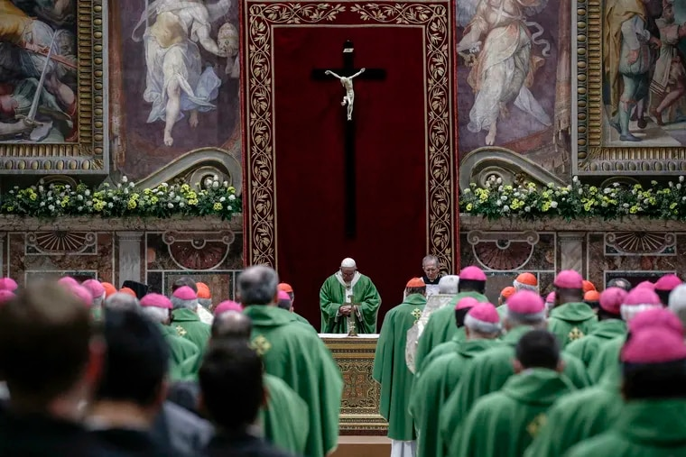 Pope Francis celebrates a final Mass to conclude his unprecedented summit on clergy sex abuse Sunday in the the Sala Regia, one of the grand, frescoed reception rooms of the Apostolic Palace.