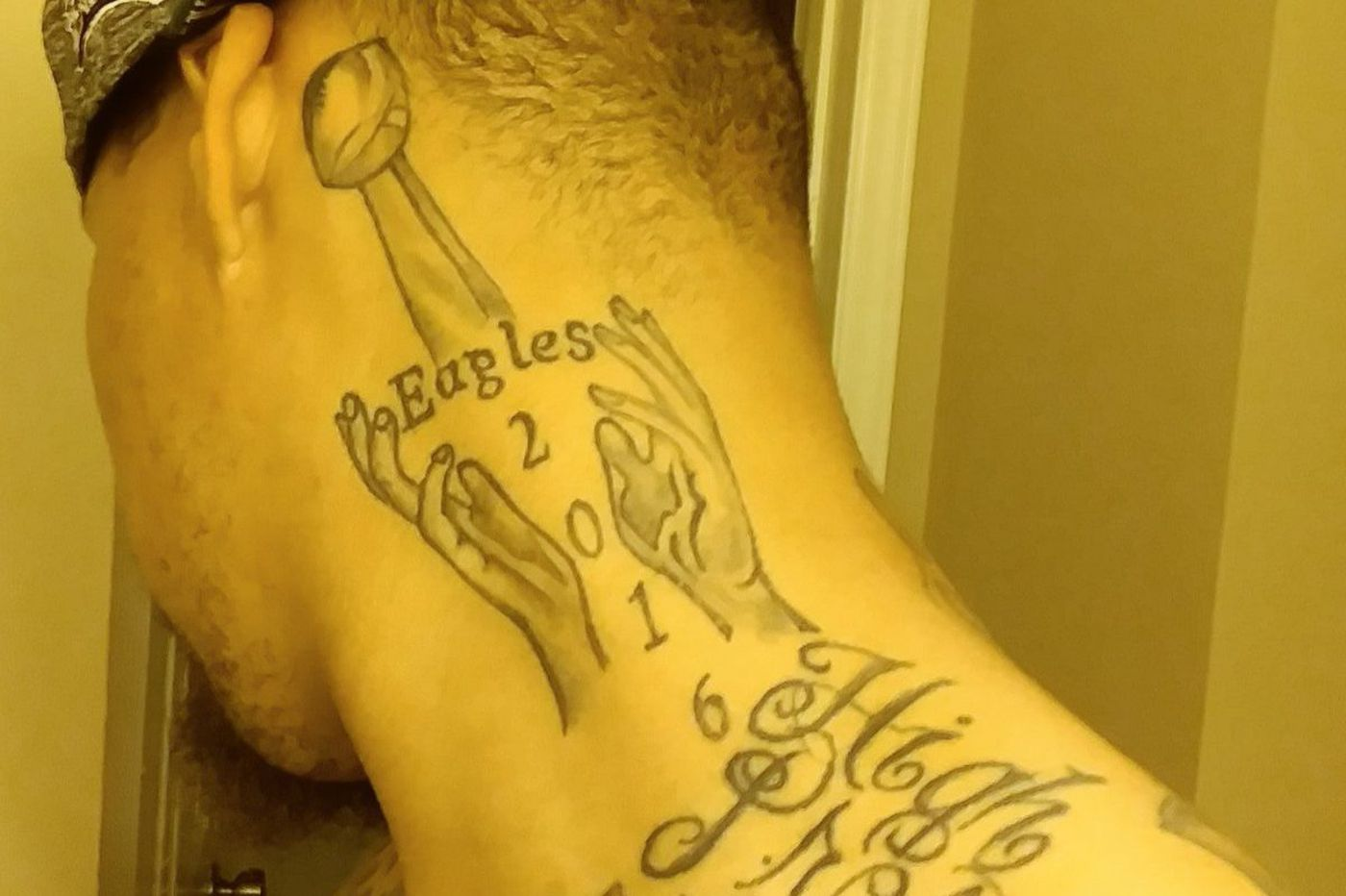 Eagles Super Bowl tattoos already? Fan with Eagles 2016 neck tat doesn't regret his