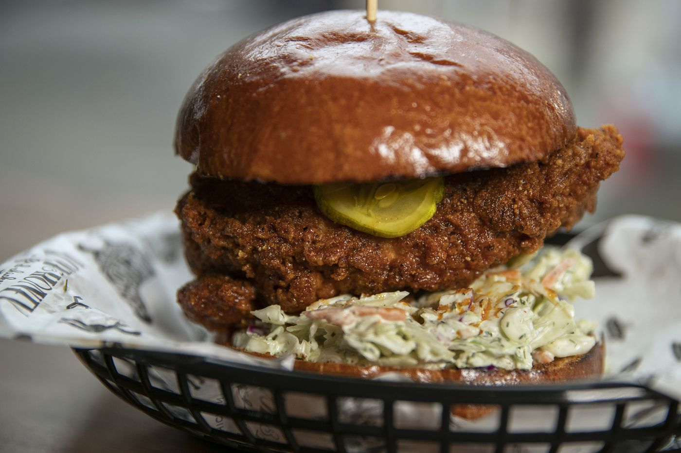 The Nashville hot chicken sandwich at Love & Honey Fried Chicken, 1100 N. Front St. Love & Honey has an exclusive delivery arrangement with the Caviar service.