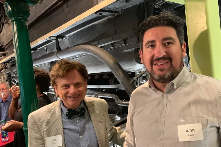 Left: Jim Scherrer, founder and CEO of Ally CRM Software, and John Gruber, who runs the Daring Fireball sites for Apple fans, at a reception for the Philadelphia premiere of the movie General Magic, hosted by FirstRound Capital partner Chris Fralic at the Franklin Institute's Old 60,000 steam engine exhibit, June 11, 2019.  Fralic and Gruber are among the backers of Compuseum, Scherrer's concept for an institution to house early computers and tell the story of the Philadelphia region's role as a computing center.