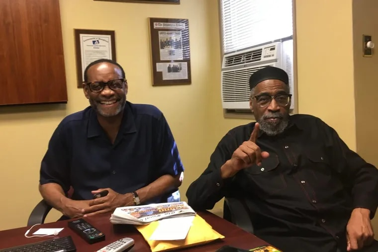 Rahim Islam, left, and Kenny Gamble, planning the 2nd annual Universal Juneteenth Parade and Festival in Center City earlier this year.