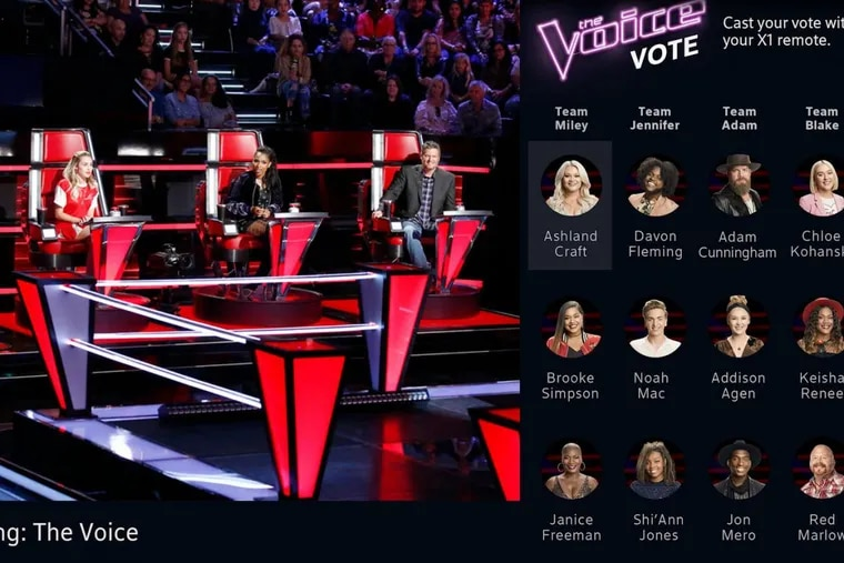 """Partial view of how screen may look for Comcast X1 users who use their remotes to vote for contestants on NBC's """"The Voice"""""""