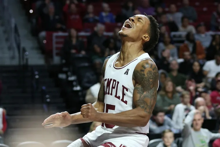 Nate Pierre-Louis of Temple reacts after a pass for an uncontested layup late in the game was thrown over his head against Missouri at the Liacouras Center on Dec. 7, 2019.