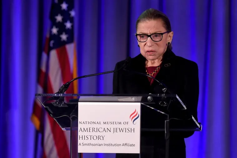 U.S. Supreme Court associate justice Ruth Bader Ginsburg speaks after she is inducted into the National Museum of American Jewish History's Only in America Gallery Dec. 19, 2019.