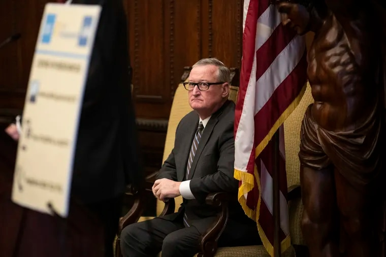 Mayor of Philadelphia Jim Kenney listens during a press conference about the coronavirus at City Hall on March 18.