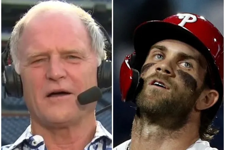 Longtime Phillies announcer Larry Andersen (left) questioned the Phillies and slugger Bryce Harper during the team's 6-3 loss to the New York Mets on Tuesday night.