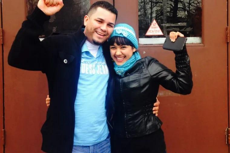 Angela Navarro and her husband, Ermer, celebrate the good reprieve news.