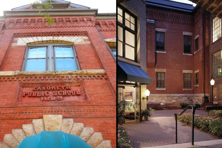 Both the former Landreth School on 23d Street in South Philadelphia (left), and the former Landreth School, at 23d and Federal, provide housing for seniors.
