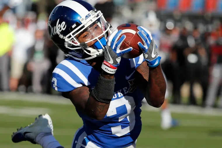 Duke wide receiver T.J. Rahming hauls in a touchdown pass against during the first half of the Blue Devils' 56-27 blowout of Temple in the Independence Bowl. (Rogelio V. Solis / AP Photo/)