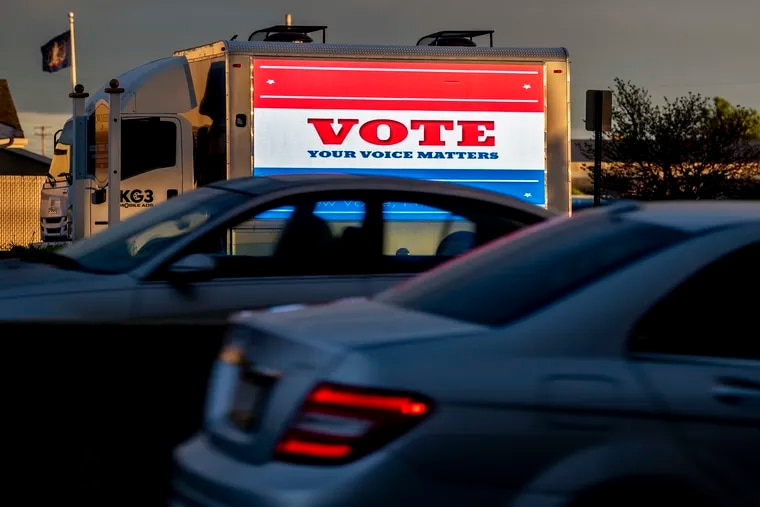 A truck-mounted electronic billboard sign in Darby Township days before the Pennsylvania primary in May.