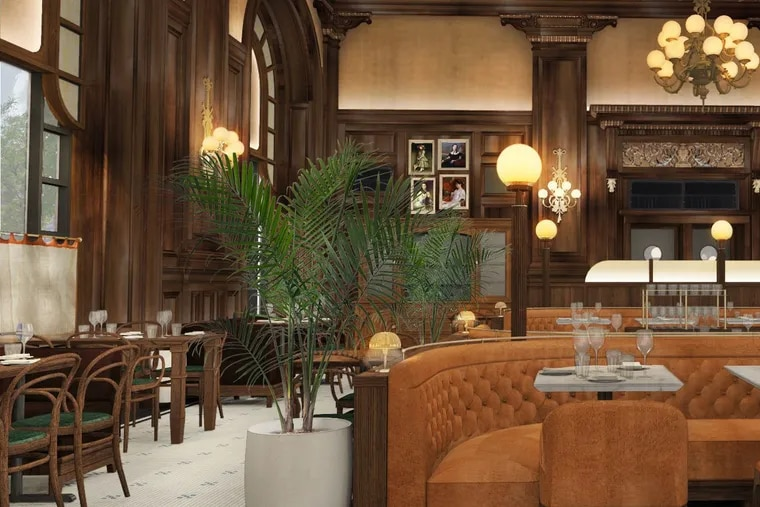 A rendering of the restaurant that will open in spring 2020 at the Hotel Du Pont in Wilmington.