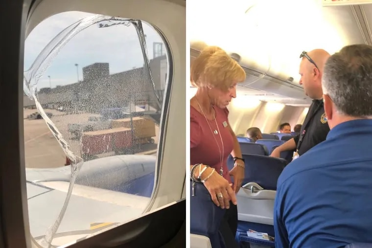 Hirsch Chinn, a passenger on board Southwest Flight 957, took these pictures after the plane was forced to make an unexpected landing after a passenger's window cracked.