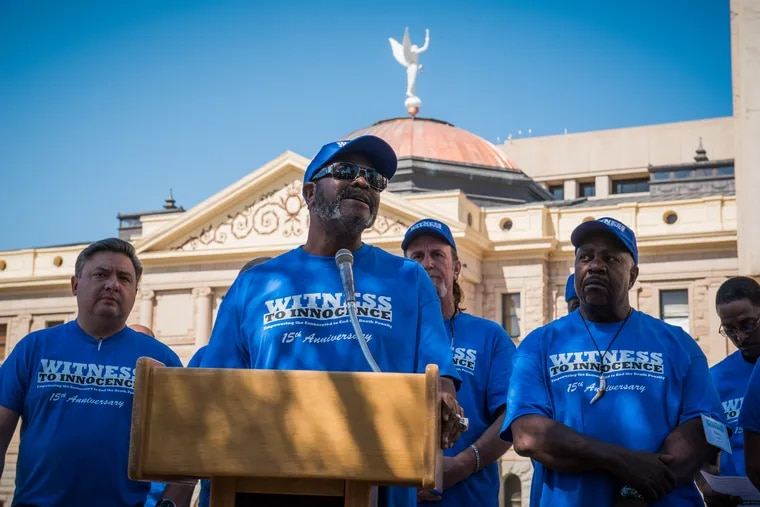 Kwame Ajamu speaks at a 15th anniversary event for Witness to Innocence, a Philadelphia-based group led by exonerated death row survivors to speak out against capital punishment.