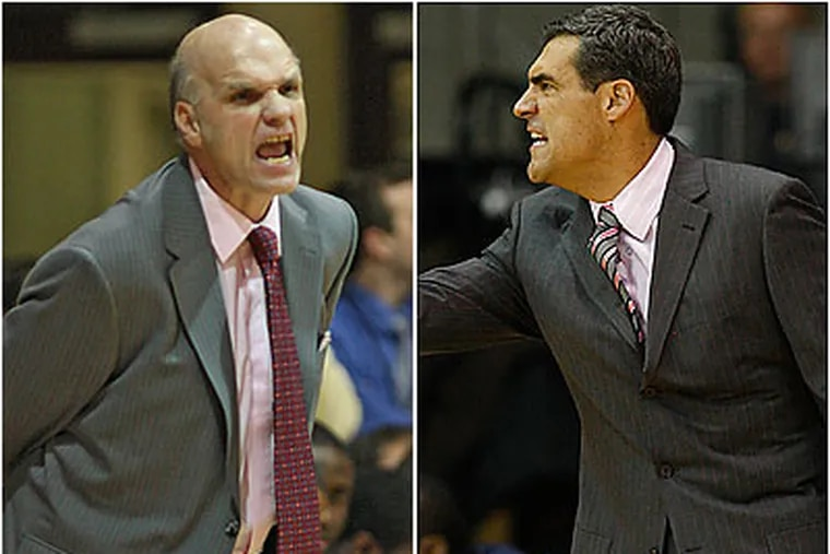 St. Joseph's coach Phil Martelli (left) and Villanova coach Jay Wright (right) will face off tonight at the Palestra in the annual Holy War rivalry game. (File Photo)