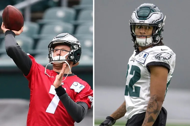 Eagles quarterback Nate Sudfeld (left) and cornerback Sidney Jones could make their debuts on Sunday.