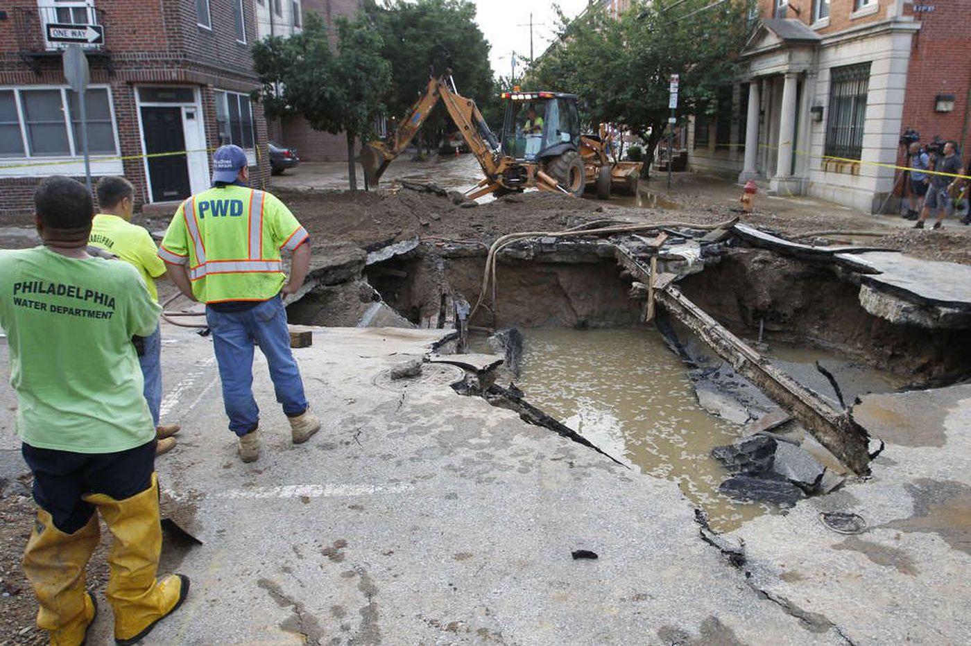 Recent 48-inch water main breaks in Philadelphia