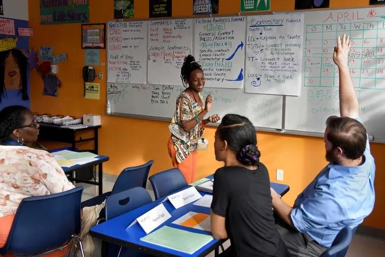 Mastery Charter Prep Middle School teacher Leandra Handfield participates in a teacher prep class at Relay Graduate School of Education.
