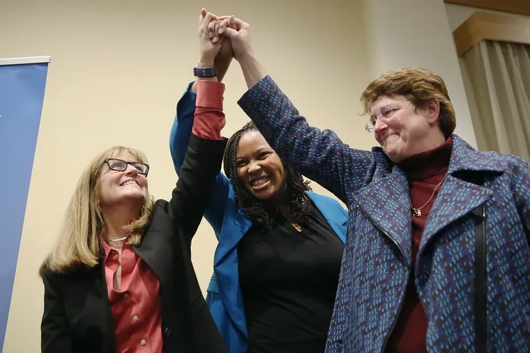 From left, Delaware County Council candidates Elaine Schaefer, Monica Taylor, and Christine Reuther celebrate after they are introduced during the Delaware County Democratic Committee's election watch party at the Inn at Swarthmore in Swarthmore Pa., on Tuesday, Nov. 5, 2019.