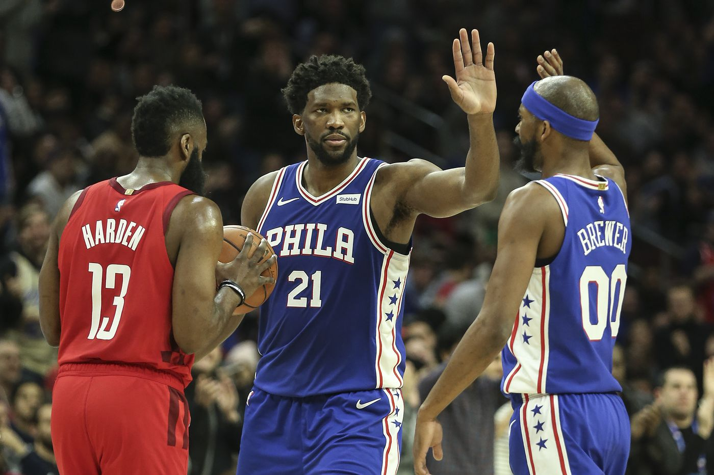 Joel Embiid, Corey Brewer lead Sixers in 121-93 rout of Rockets