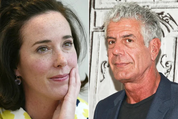 A 2004 file photo of designer Kate Spade, left, and a 2016 file photo of celebrity chef Anthony Bourdain, right.