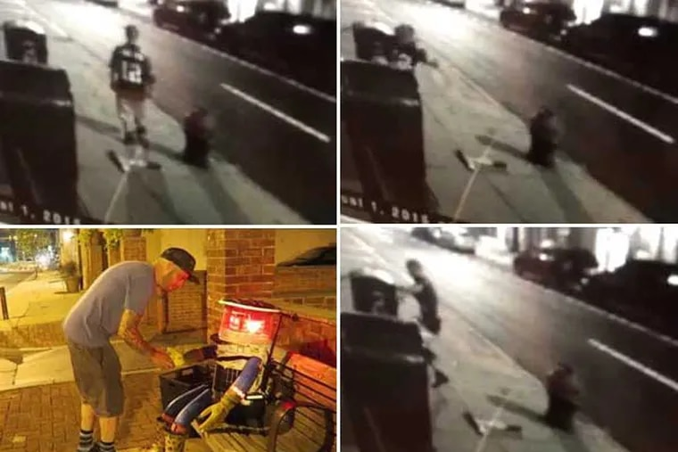 Clockwise from lower left. 1) Last known image of an intact hitchBOT. 2) Frame grab from surveillance video of man in No. 12 jersey after tossing what appear to be hitchBOT's arms to sidewalk. 3 & 4) Man appears to stomp item believed to be hitchBOT.