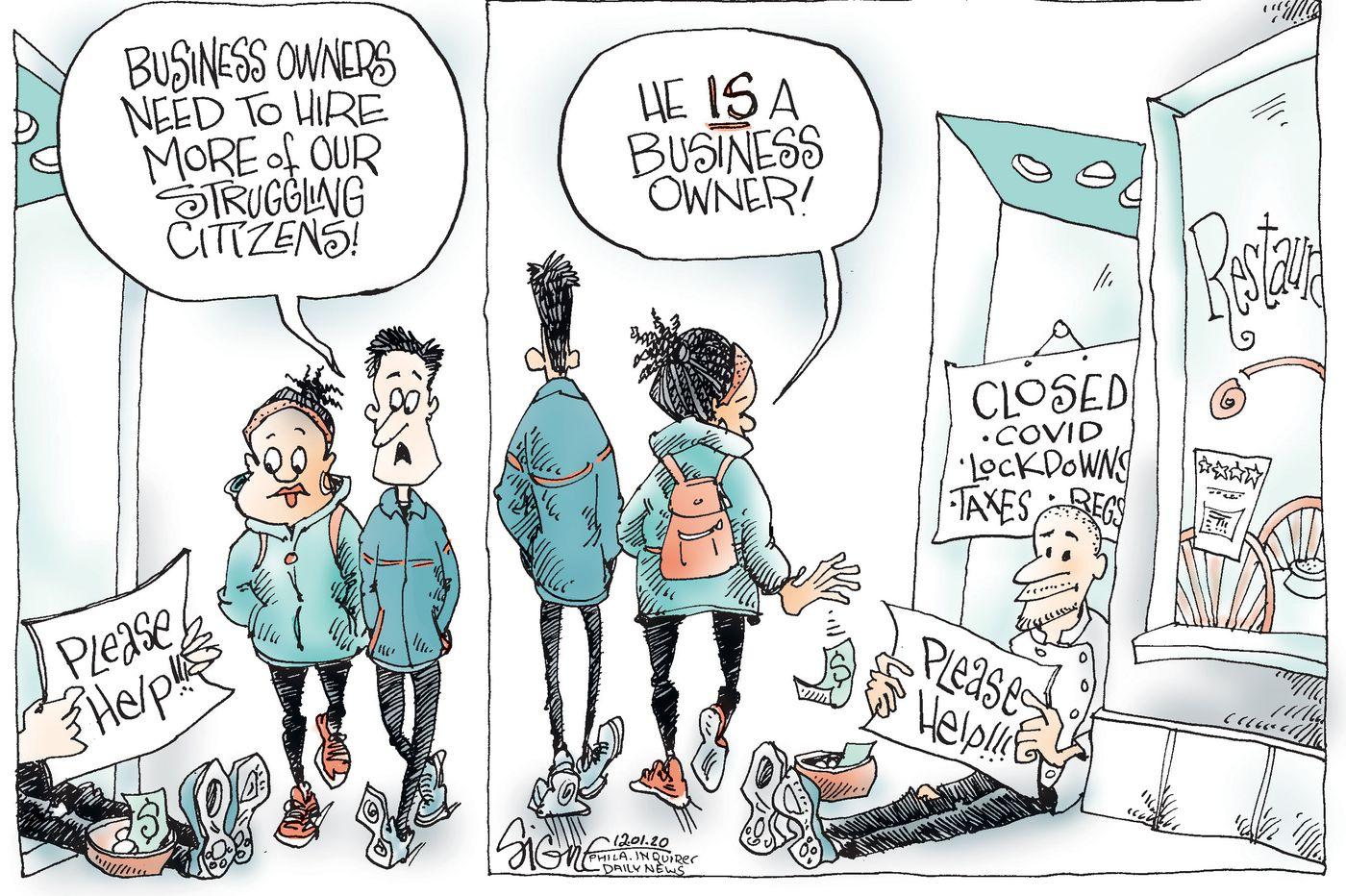 Political Cartoon: Small business sidewalk sale