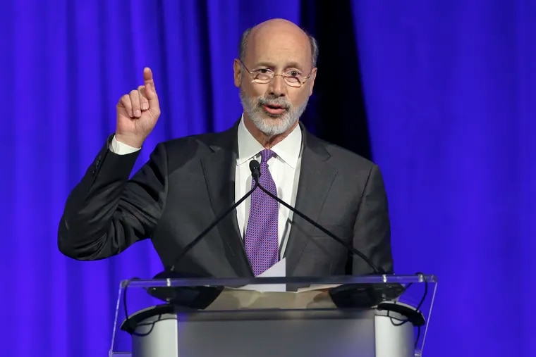 """Governor. Tom Wolf addresses the Pennsylvania Democratic Party's inaugural """"Independence Dinner."""" at The Pennsylvania Convention Center in Philadelphia, Friday, November 1, 2019"""