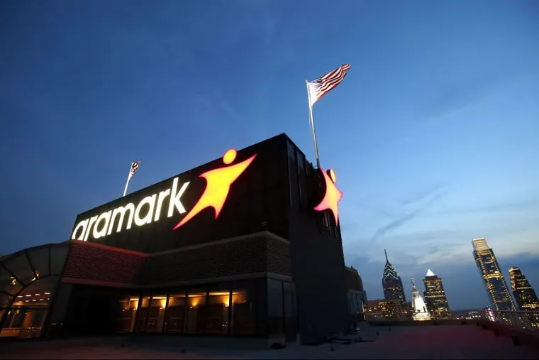 The Aramark sign, atop its soon-to-be-former headquarters.