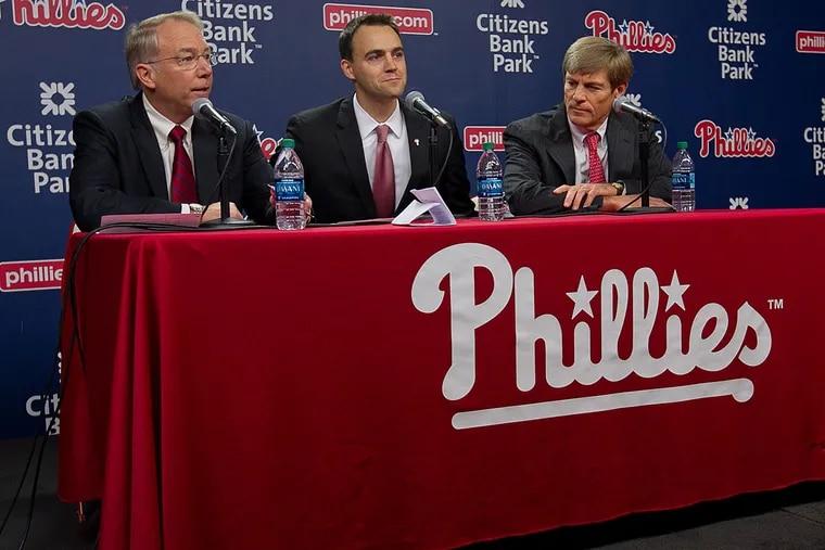 Phillies president Andy MacPhail, general manager Matt Klentak and part-owner John Middleton.