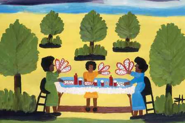 """Clementine Hunter's """"Playing Cards"""" (c. 1970), oil on canvas board, is among a suite of her paintings in the Delaware Art Museum show. Her work depicts life on a Louisiana plantation."""