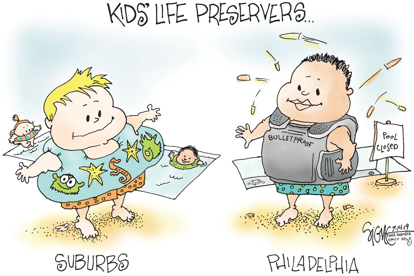 Political Cartoon: Gun violence takes lives and childhoods