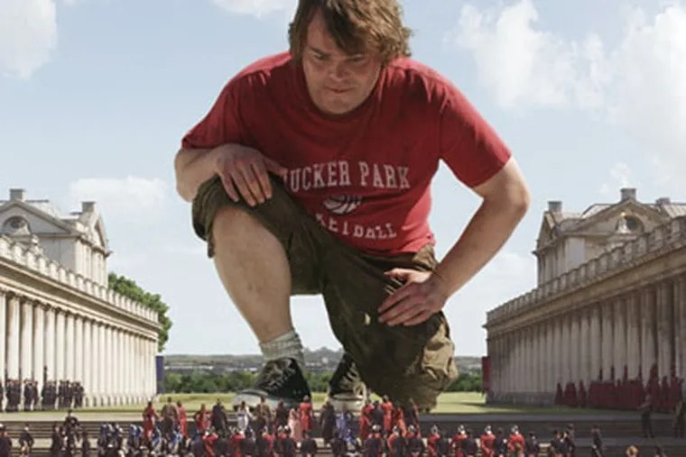 """Jack Black as Gulliver gets acquainted with the wee world of Lilliput and its inhabitants in """"Gulliver's Travels."""" The groundbreaking literary satire gets treated shabbily in this film, which begins in modern-day Manhattan."""