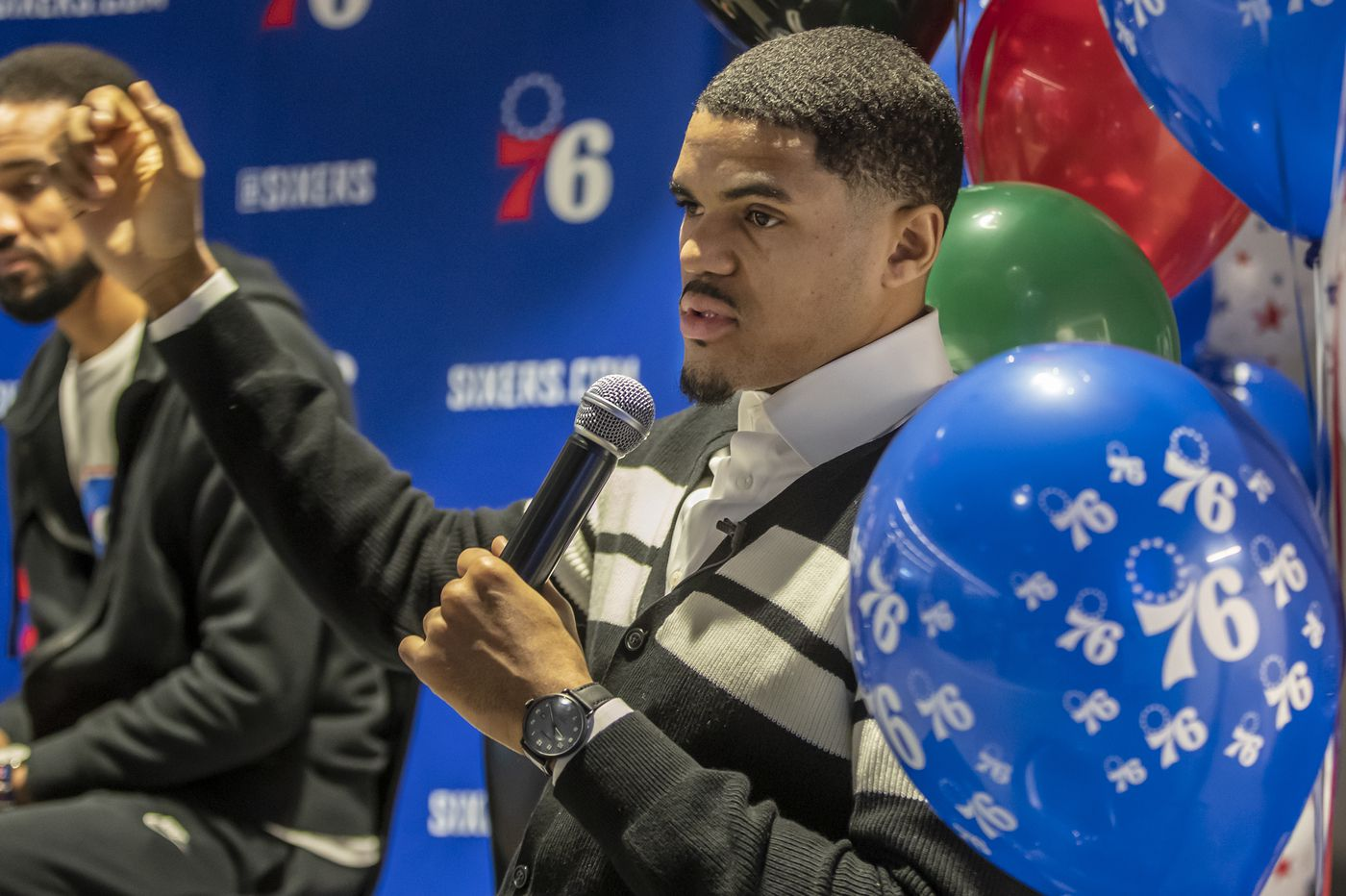 Tobias Harris speaks to middle-schoolers at Sixers' Black History Month event
