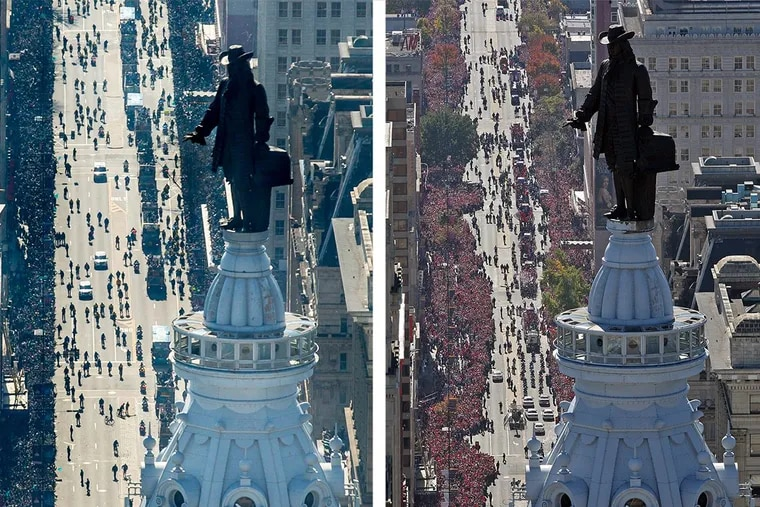 A side-by-side shot of the Eagles parade in 2018 and the Phillies parade in 2008.