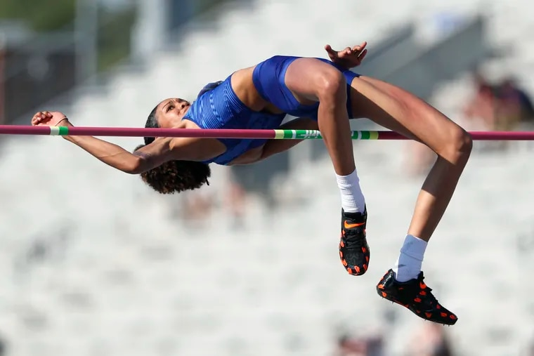 Vashti Cunningham clears the bar during the women's high jump at the U.S. Championships athletics meet, Saturday, July 27, 2019, in Des Moines, Iowa.