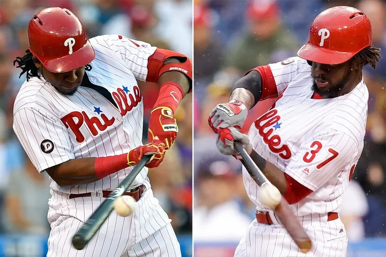 Phillies Maikel Franco (left) and Odubel Herrera at the plate.