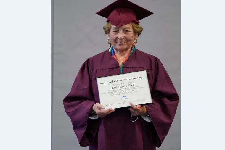 Miriam Schreiber, 88, after she was presented with an honorary high school diploma from New England Jewish Academy in Hartford, Conn. (Steve Kapiloff)