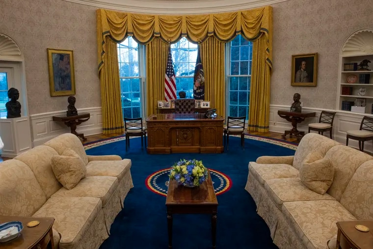 A preview of the redesigned Oval Office awaiting President Joe Biden at the White House in Washington, D.C.